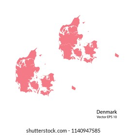 Couple set Map,pink map of denmark, vector illustration eps.10