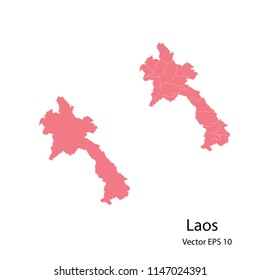 Couple set Map,pink map of laos, vector illustration eps.10