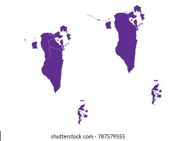 Couple Set Map,Purple Map of Bahrain ,Vector EPS10