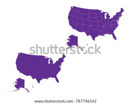 Purple America Map.Couple Set Map Purple Map United States Stock Vector Royalty Free