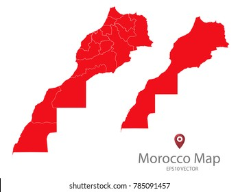 Couple Set Map,red Map of Morocco,Vector EPS10