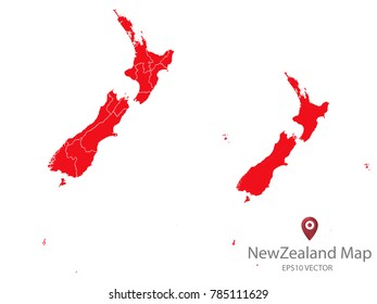 Couple Set Map,red Map of New Zealand,Vector EPS10