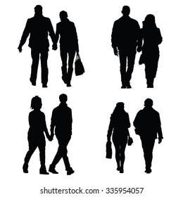 couple set vector silhouette illustration