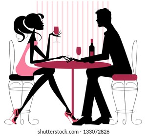 Couple Sharing Romantic Dinner Silhouette in pinks and black -Romantic couple sitting in restaurant - sharing a bottle of wine. Valentine, engagement, or just a date.