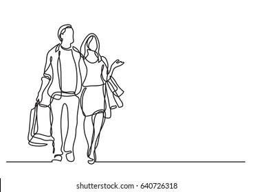 couple shopping - continuous line drawing