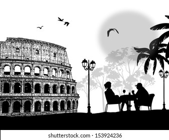 Couple silhouette in cafe in front of Colosseum in Rome , vector illustration