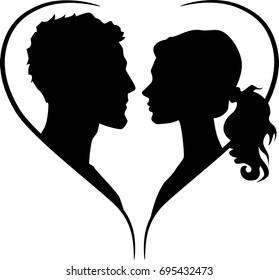 Couple silhouette in heart shape