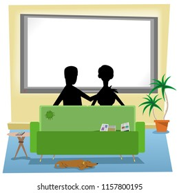 Couple in silhouette sitting in living room in front of TV, screen empty for your text (vector illustration)