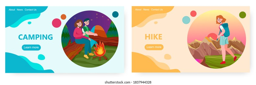 Couple sit next to campfire in forest. Hike and outdoor sport activity vector concept illustration. Girl hiking with backpack in mountains. Web site design template