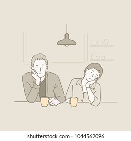 Couple sitting at a coffee shop and bored. hand drawn style vector doodle design illustrations.