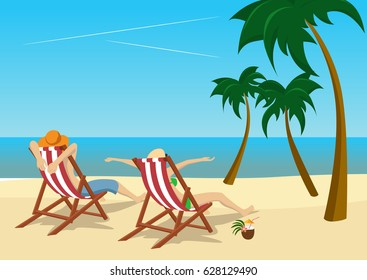 couple sitting in deck chairs on beach at tropical resort