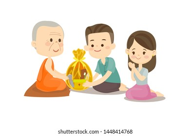 Couple sitting and offering to Buddhist Vector
