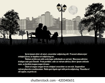 Couple sitting on a bench in the city park on black and white. Romantic date concept with space for your text, vector illustration