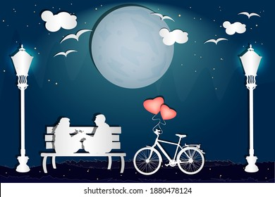 Couple sitting on a bench in the park in love atmosphere. Valentine's day card with romantic couple and bike in paper art style. Happy Lovers.Valentines night.Be my Valentine.Stock vector illustration