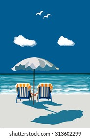 Couple sitting on deck chairs on the beach under umbrella, holding hands, on vacation, vector illustration