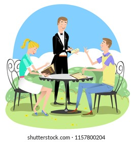 Couple sitting outside, man ordering from waiter in tails, woman reading menue (vector illustration)