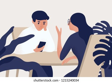 Couple sitting at table, woman talking to her partner, man looking at his smartphone. Estrangement in romantic relationship, emotional distancing. Colored vector illustration in flat cartoon style.