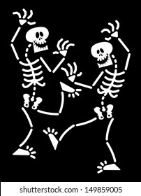 Couple of skeletons having fun, laughing and dancing in a lively and animated way despite their lack of rhythm