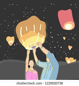 Couple with sky lanterns in Loy Krathong festival at night at Thailand.vector illustration.