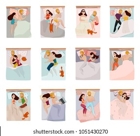 Couple sleeping poses set with relations symbols flat isolated vector illustration