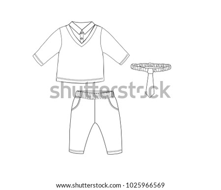 couple smart shirt with pants and bow tie design templateset of baby clothes look