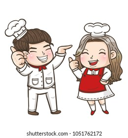 couple smily chef. good chef good food.welcome to my restaurant
