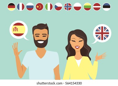 Couple speaking different languages flat vector illustration