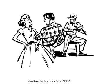 Couple Square Dancing - Retro Clip Art