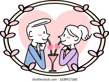 Couple staring into each other's eyes on date night. Man and woman gazing romantically at each other. Happy man and woman smiling, drinking and looking into each other's eyes on date night.