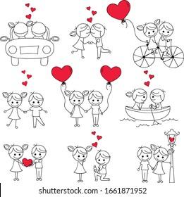 Stick-Figur für Valentin, Romantik, Hochzeit und andere
