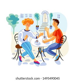 Couple in street cafe flat vector illustration. Young couple, girlfriend and boyfriend cartoon characters. Husband and wife together in coffee house. Man and woman on date, romantic relationship