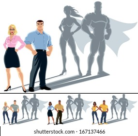 Couple Superhero Concept: Conceptual illustration of ordinary couple with superhero shadow. The illustration is in 4 versions. No transparency and gradients used.