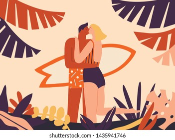 Couple of surfers kissing and hugging on the beach near the ocean. Summer surfing illustration in vector.