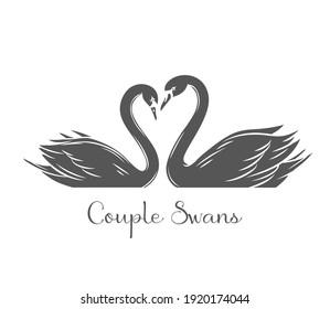 Couple swans glyph icon. Monochrome couple of romantic birds for wedding invitation design. Black vector illustration, isolated on white.