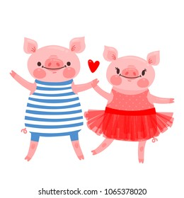 Couple of sweet piglets. Character design pig in ballet skirt and a hog in the vest. Vector illustration.