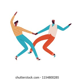 Couple of swing and rock n roll dancers dancing illustration in vector. Dance party in 50s style.