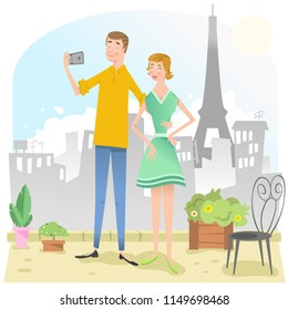 Couple taking selfie with cell phone on rooftop in Paris with Eiffel tower (vector illustration)