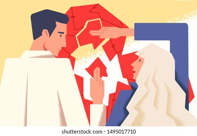 Couple therapy concept flat vector illustration. Marriage counseling. Boyfriend and girlfriend working on relationship problems. Wife and husband cartoon characters assembling broken heart puzzle.