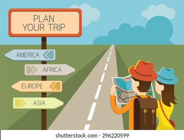 Couple Tourist reading Map and Direction Sign, Adventure exploration Travel Concept