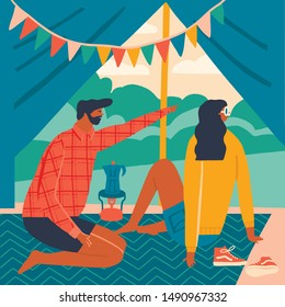 Couple of tourists sitting  in the tent and watching mountain landscape illustration in vector. Men and women camping and hiking in a forest poster to card.