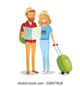 Couple of tourists with travel bag and map
