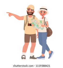 Couple of tourists visiting the sights. Travel to new countries. People and tourism. Vector illustration in cartoon style