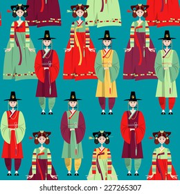 Couple in traditional korean dresses. Hanbok. Seamless background pattern. Vector illustration