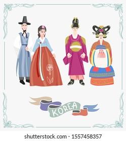 couple in traditional korean wedding dresses, wear korean hanbok costume, vector illustration