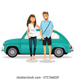 Couple travel by car,Cartoons character family