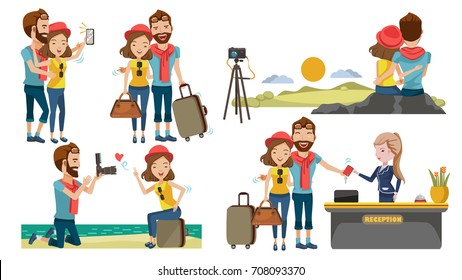 Couple travel relaxing on top of a hill. Traveling along mountains and coast sunset, Take pictures together. Check in lobby hotel. The honeymoon concept with sweetness. Traveling to various places.