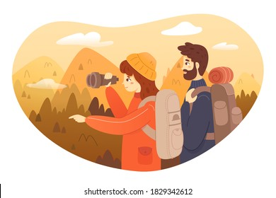 Couple trekking on mountain. Man and woman traveling in mountains, standing on top, girl looking in binoculars and pointing with finger. Tourist outdoor scene vector. Climbing together.