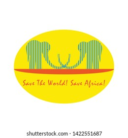 Couple of Two African Elephants Placed in Front of the Rising Sun and Standing on the Yellow Ground. Logotype Symbolizing Cooperation and Support in the Ecological and Environmental Field.