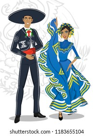 Couple with typical Jalisco costumes for the national holidays of september in Mexico. Articulated dolls.