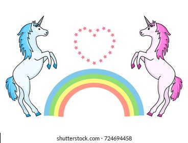 Couple unicorns with rainbow and heart with stars. Vector illustration.